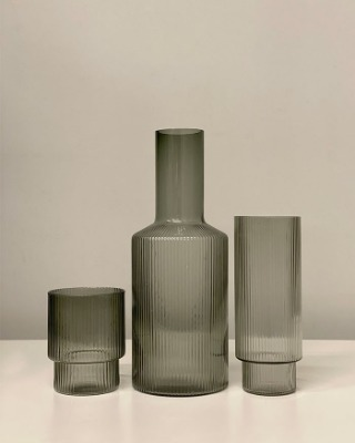 Stripe glass bottle & cup(B급 50%)