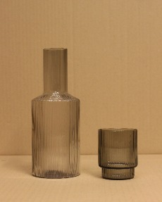 Stripe glass bottle & cup
